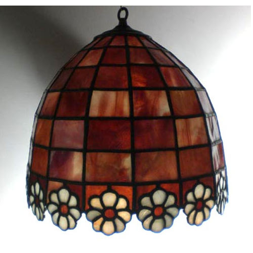 stained glass cranberry daisy shade