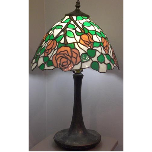 stained glass pink rose shade