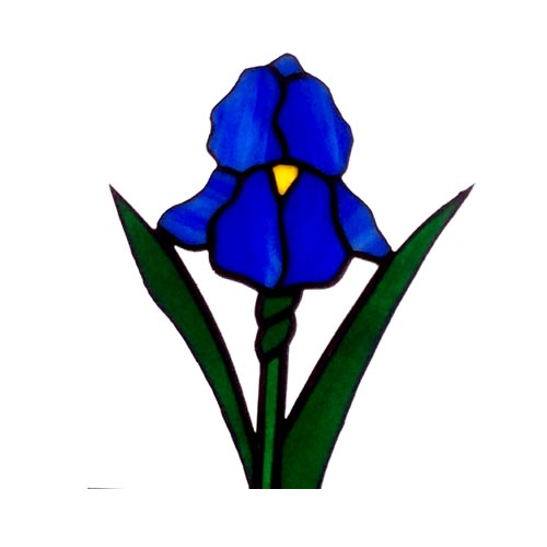 stained glass blue iris